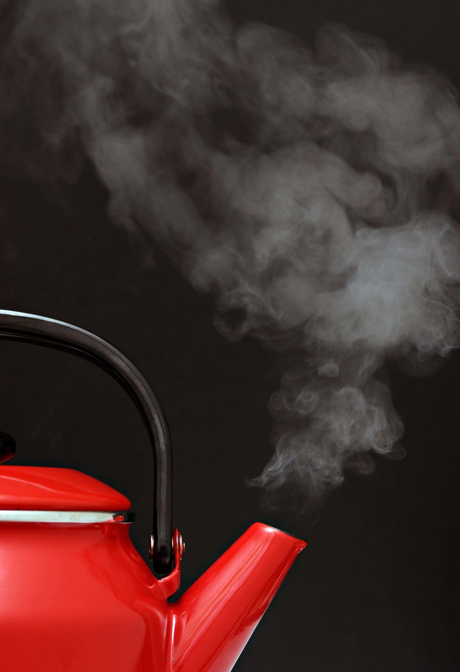 Tea kettle boiling water