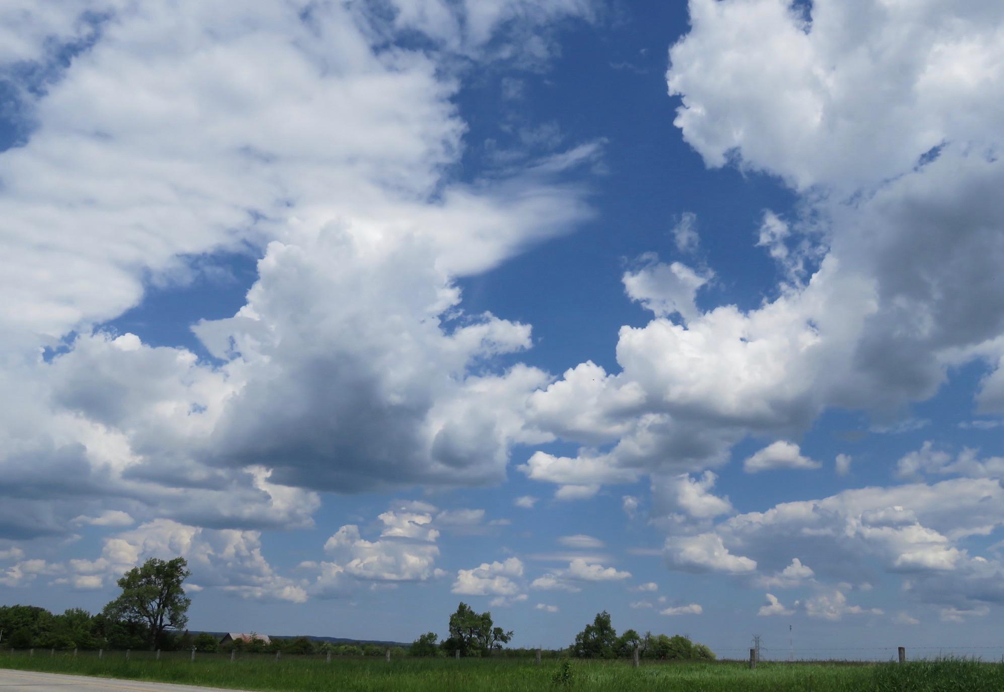 Clouds with dark underbellles