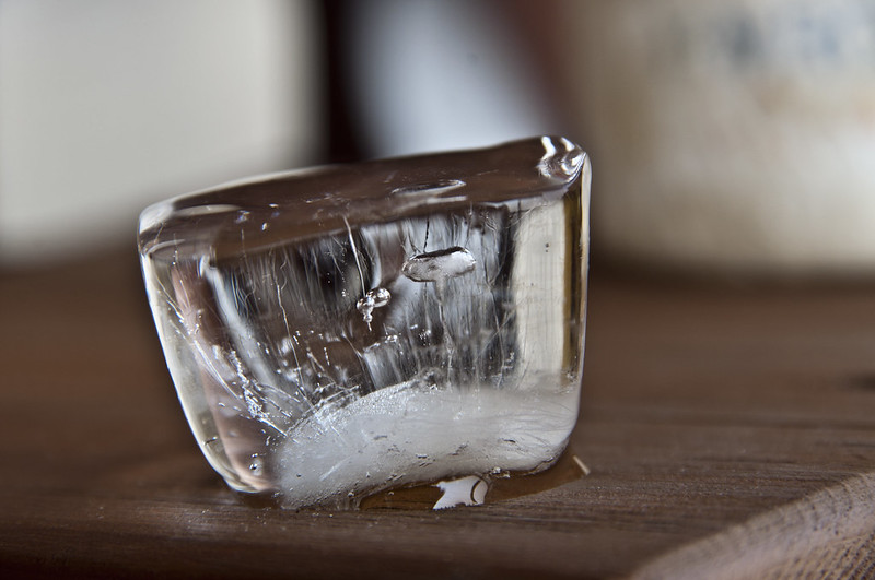 Ice cube with air bubbles